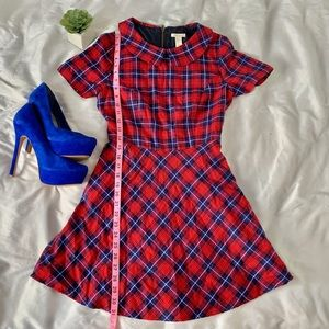 Blue and red plaid dress